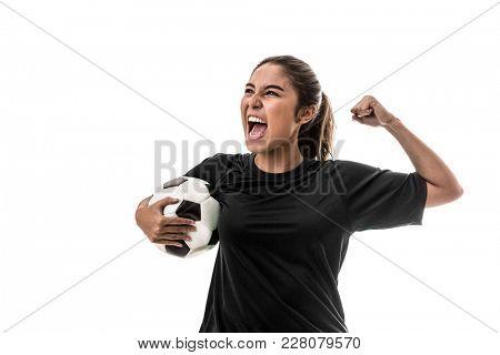 Young girl fan celebrating in black uniform