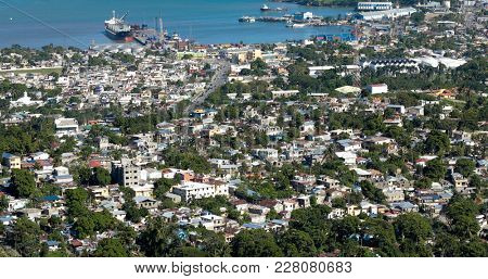 Aerial view of Puerto Plata, Dominican Republic.