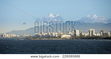 City center of San Juan, Puerto Rico seen from the sea.