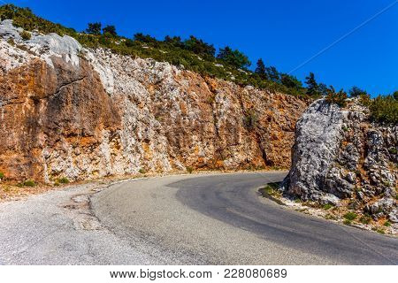 Picturesque mountain road in the Provence. The fascinating journey to the canyon in Europe - Verdon. Concept of ecological, extreme and active tourism