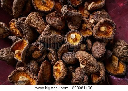 Dried Shiitake mushrooms edible for Asian cuisine food