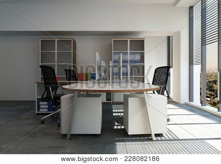 Empty workstation with desk and chairs in office room. 3d Rendering.