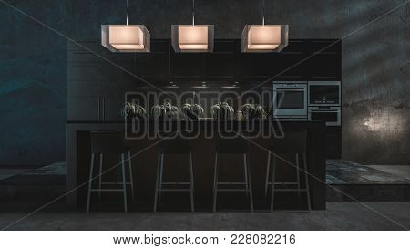 Dark grey luxury fitted kitchen and bar counter with stools at night lit by soft light from three ceiling lamps in a luxury apartment or house. 3d rendering
