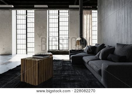 Modern industrial loft conversion living room with monochromatic grey decor and grunge cement walls lit by daylight from large windows, 3d rendering