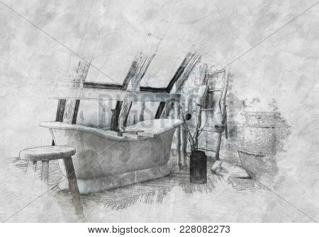 Old vintage pencil and paint effect sketch of a Chateau style roll top bathtub in an attic bathroom with curved windows on textured paper. 3d Rendering.