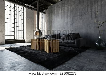 Spacious minimalist room with sofa in loft style modern apartment. 3d Rendering.
