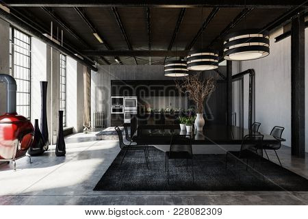 Hipster loft conversion with black decor and an open plan dining room lit by three striped overhead lamps with a fitted kitchen area at the far end. 3d rendering