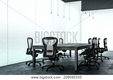 Modern minimalist conference room with a large table and contemporary wheeled chairs in a spacious office with dark floor. 3d rendering