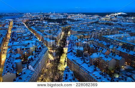 Aerial view of Stockholm City in winter