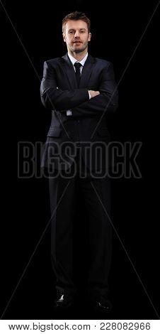 portrait in full length of confident businessman