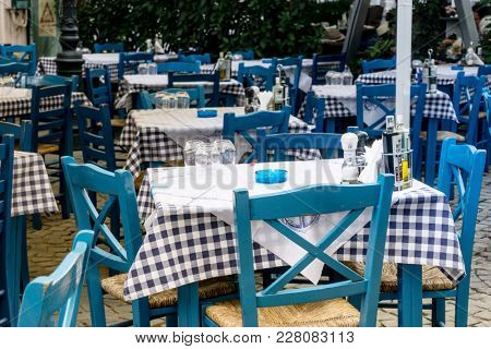 BUCHAREST, ROMANIA - August 28, 2017: Street view of a coffee terrace in Old Town Bucharest, Romanian