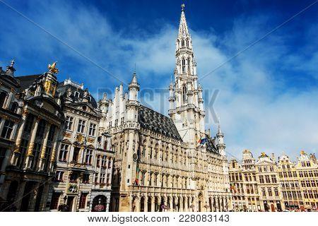 BRUSSELS, BELGIUM - August 27, 2017: Grand Place in Brussels city, Belgium.