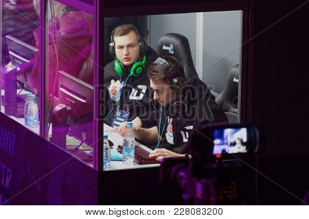 ST. PETERSBURG, RUSSIA - FEBRUARY 22, 2018: Team of gamers during St. Petersburg Cyber-Sport Festival. Main event of the festival is the Counter-Strike: Global Offensive tournament