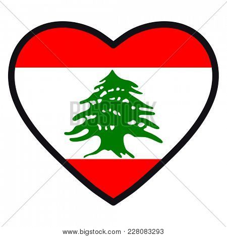 Flag of Lebanon in the shape of Heart with contrasting contour, symbol of love for his country, patriotism, icon for Independence Day.
