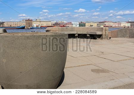 Granite Pot On The Waterfront. Architecture Of Embankments Of Rivers And Canals Of St. Petersburg.
