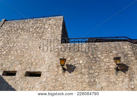 Part Of The Fortress Wall With Lanterns In Herceg Novi In Montenegro