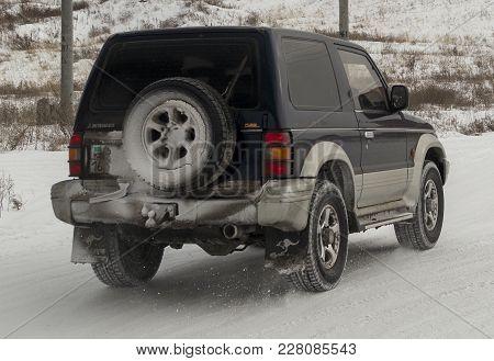 Kazakhstan, Ust-kamenogorsk, February 23, 2018: Mitsubishi Pajero . Old Japanese Car. Old Suv