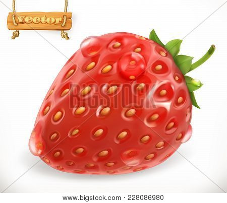 Strawberry And Water Drops. Fresh Fruit, 3d Vector Icon