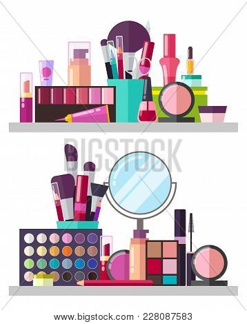 Make Up Big Collection, Posters With Palette And Eyeshadows, Mirror And Powders, Lipsticks And Masca