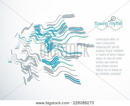 Abstract Wavy Lines Rhythm Pattern For Use In Graphic And Web Design. Vector Technology Flyer Templa