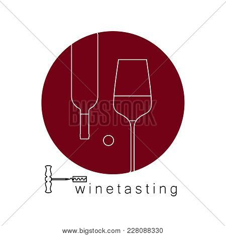 Wine Glass, Wine Bottle And Corkscrew. Vector Linear Icon. Sign For Menu, Tasting, Wine List.