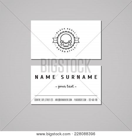 Business Card Hipster Style With Skull Logo And Circle (vector). Vintage Design.