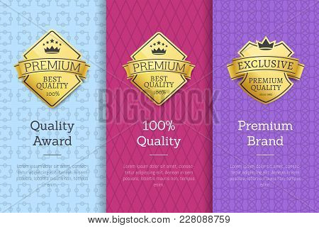 Quality Award 100 Premium Brand Guarantee Certificates Of Best Products With Golden Emblems And Text