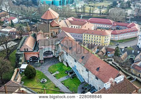 Esztergom Castle, Hungary. Travel Destination. Cultural Heritage. View From Above.