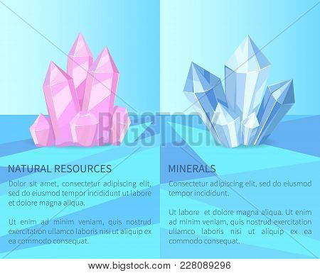 Natural Resources And Minerals, Posters Collection With Headline And Informational Text Sample, Prec