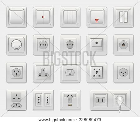 Set Of Different Switches Vector Illustration Isolated On White Backdrop, Varied Connectors And Sele