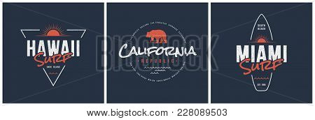 Hawaii Surf, California Republic And Miami T-shirt And Apparel Vector Designs, Typography, Prints, L