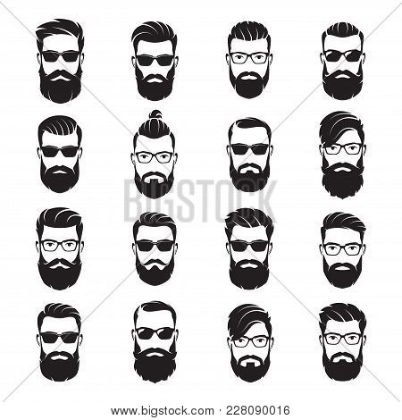 Set Of Vector Bearded Men Faces Hipsters With Different Haircuts, Mustaches, Beards, Sunglasses. Sil