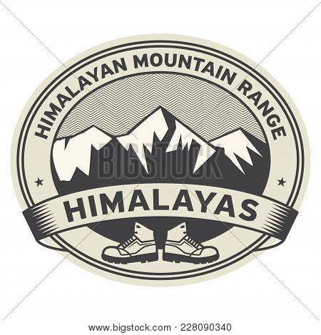 Adventure Outdoor Expedition Mountain Peak Sign Or Stamp With Text Himalayas, Vector Illustration