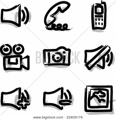 Web icons marker contour media
