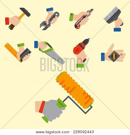Hands With Construction Tools Worker Equipment. House Renovation Handyman Vector Illustration. Carpe