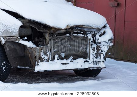 Car Covered With Snow After An Accident