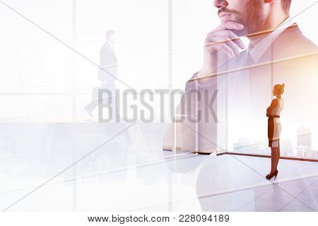 Success And Job Concept. Businessman On Abstract Office City Background With Copy Space. Double Expo