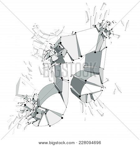 Musical Note Exploding To Pieces, Vector 3d Realistic Illustration Symbol. Hard And Loud Sound Conce