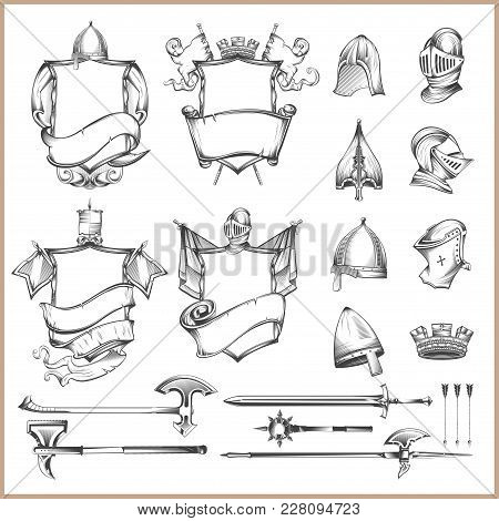 Collection Of Vector Heraldic Elements, Helmets And Medieval Weapons