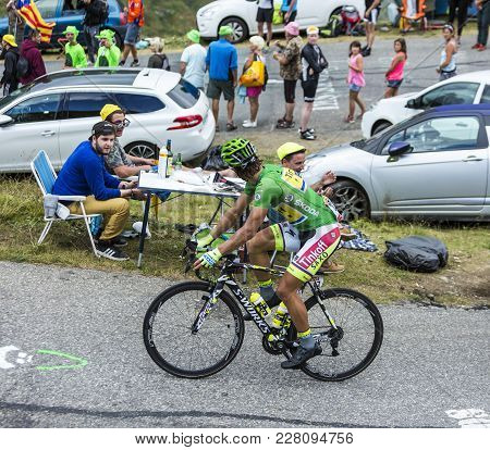 Col Du Glandon, France - July 24, 2015: The Slovak Cyclist Peter Sagan Of Tinkoff-saxo In Green Jers