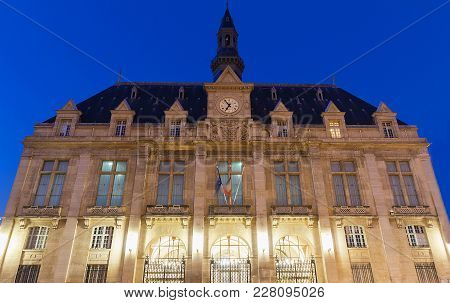 The Saint Denis Town Hall In The Evening , France.