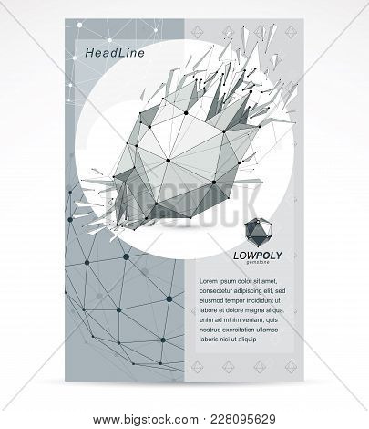 Computer Technologies Creative Advertisement Brochure. Vector Abstract Black And White 3d Mesh Broke