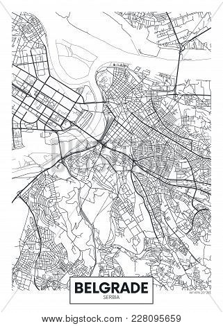 Detailed Black And White Vector Poster City Map Belgrade