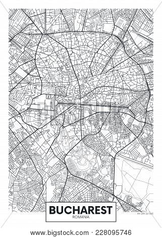 Detailed Black And White Vector Poster City Map Bucharest