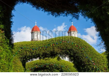 ZARCERO, COSTA RICA - DECEMBER 16: Evergreen Park Francisco Alvarado is the landmark of Zarcero town, Costa Rica, Central America