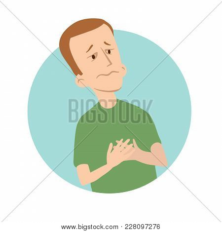 Young Man Holds Hands On His Chest. Early Symptoms Of Heart Attack, Chest Pain, Sickness Round Icon.