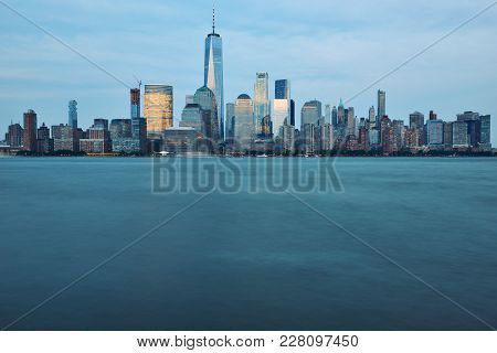 Manhattan Skyline And Hudson River At Sunset, New York City