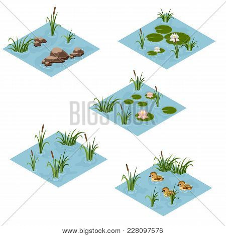 Lake Landscape Isometric Tile Set, Cartoon Or Game Asset To Create Forest Or Garden Lake Or Pond Sce