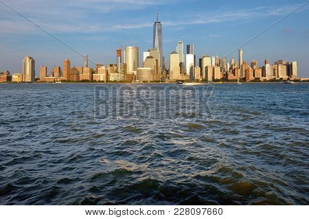Manhattan Skyline And Hudson River At Sunset, New York City, Usa