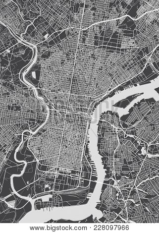 Philadelphia City Plan, Detailed Black And White Vector Map